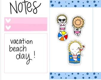 Mini-- Beach Day| Vacation| Sunny Day| Sun Tan| Tanning Day| Vacation Mode Planner Stickers (M18)