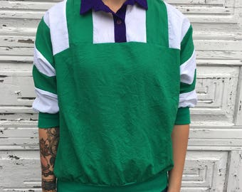 Vintage 70s 80s 90s Cortiva Green White Purple 3/4 Sleeve Color Block Striped Shirt - Medium