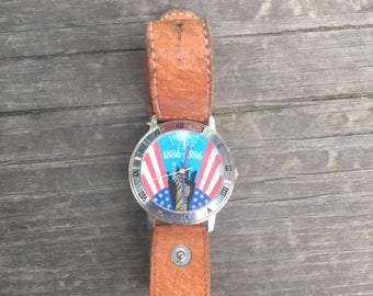 Vintage 1986 80s Statue Of Liberty 100th Anniversary USA New York V Watch Collectible Works New Battery Leather Band