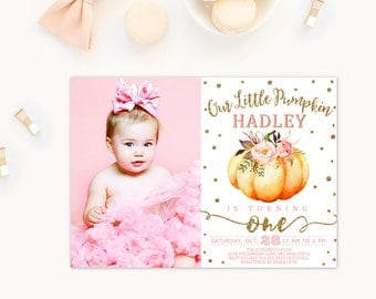 Pumpkin Invitation, Pumpkin first birthday invitation, pink and orange pumpkin invitations, pumpkin photo invitations, pumpkin 1st birthday