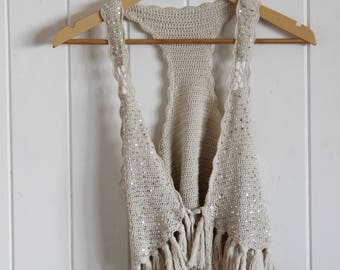Boho, sequinned, tasseled, beige, festival, tie up vest