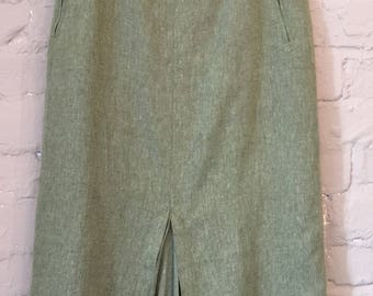 VINTAGE long fitted green pencil skirt UK 10/12 Front pleats Linen blend