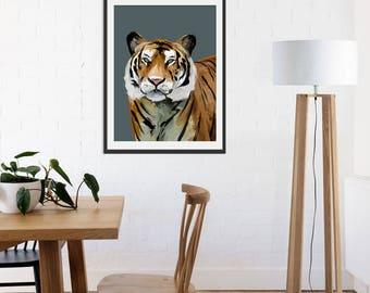 Tiger Print. Tiger Painting. Tiger Gift. Tiger Art. Jungle Animals. Green Lili. Wall Art.