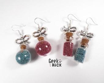 SALE 50% earrings Geek - mmorpg moba gaming mana and health potion vials