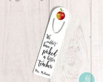 Teacher Appreciation Gift Ideas, Personalized Apple Gift for Teacher, Personalized Metal Bookmark for Teachers, Personalized Teacher Gift