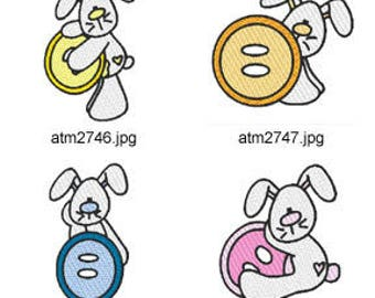 Button-Bunnies  ( 7 Machine Embroidery Designs from ATW ) XYZ17F