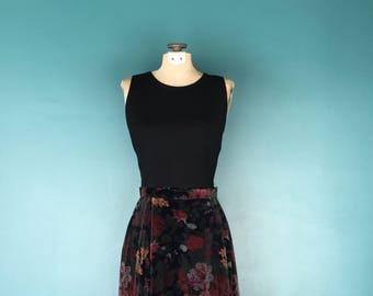 Vintage Velvet Skirt. Floral Velvet Skirt. Maxi Skirt. Boho Midi Skirt. Midi Skirt. Boho Gypsy Skirt. Velvet Midi Skirt. Velvet Skirt
