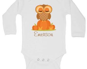 CUSTOMIZABLE Owl Pumpkin Patch Onesie, Baby Girl Fall Onesie, Girl Fall Outfit, Girl First Halloween, Girl First Thanksgiving