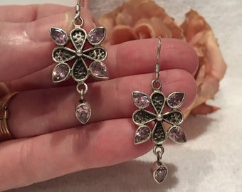 """Gorgeous Vintage Sterling Silver & PINK Crystal Dangle and Drop Earrings-Tear Drop PINK Crystals Adorn Each Earring-4.5cm Drop- 1"""" 3/4"""""""