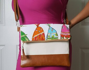 Bird Crossbody, Tan Pink Green Teal Crossbody Bag, Faux Leather, Crossbody Purse, Clutch, Wristlet, Shoulder Bag, Handbag, Women Crossbody