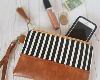 Black White Striped Wristlet - Wristlet Wallet - Womens Wallet - Faux Leather - Small Crossbody - Phone Wallet - Wristlet Purse - Bridesmaid