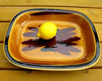70s / Rörstrand Sweden Casserole Dish / Serving Dish / Ovenware / Baking Pan / Rorstrand / Designed by Harry Stalhane/ Tuna Series / Modern