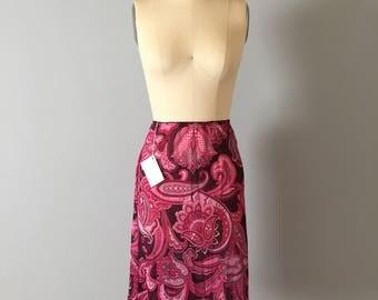 1990s XOXO psichedelic semi sheer skirt // paisley boho midi skirt