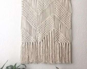 Large Geometric Macramé Wall Hanging // Tapestry // Parallelograms & Triangles // Bedroom Wall Art // Office Decor // Boho // Minimalist