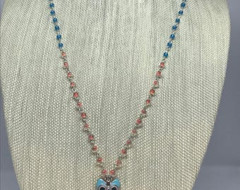 Owl Necklace | Long Necklace | Layering Necklace | Beaded Chain | Pendant | Statement Necklace | Everyday Jewelry | Colorful Necklace