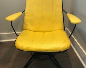 Midcentury Modern Homecrest Co. B25 Headliner Yellow Swivel Chair