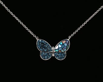 Butterfly Necklace, Swarovsky Crystals, Split Mother of Pearl, Pave Radience Pendant, Montana(Navy) Color, Unique Style