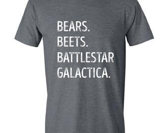 The Office, Bears, Beets, Battlestar Galactica, Mens T-Shirt, Funny quotes, Tv Show, Mens, GRAY.