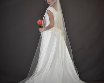 "108"" Cathedral Veil with 3/8"" Folded Satin Ribbon Edge"