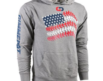 GIMMEDAT Softball Seams American Flag French Terry Hoodie - Lightweight Softball Hoodies, Softball Sweatshirts - Free Shipping!