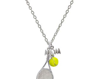 Customizable Tennis Racket Mom Necklace with Mini Tennis Ball - Personalize with Heart Charm or Letter Charm! Great Tennis Gift!