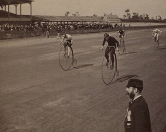 Bike Race Penny Farthing Bicycle Antique Sepia 8x10 inch Vintage Reprint