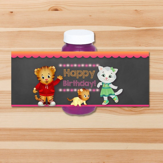 Daniel Tiger Birthday Bubble Labels - Pink Chalkboard - Girl Daniel Tiger Bubble Bottle Labels - Daniel Tiger Birthday Party - Daniel Tiger