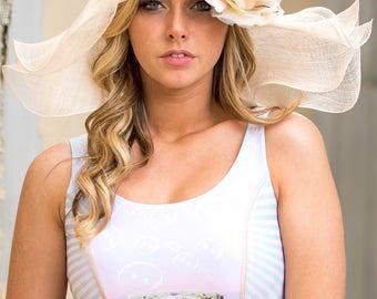 Floppy Brim Beige Hat With Silk Organza Rosette