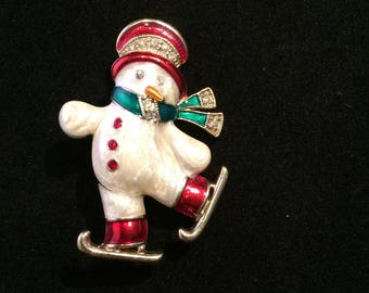 Stunning Vintage Monet Ice Skating Enameled Winter Snowman/person with Rhinestones