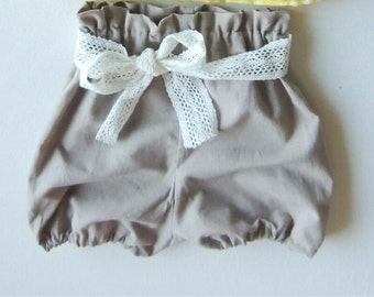 High waisted lace bow bloomers - Linen