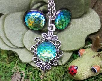 Elliot Dragon Scale Jewelry, Green Dragon, Pete's Dragon Jewelry, Dragon Scale Earrings, Dragon Scale Pendant, Musical Jewelry