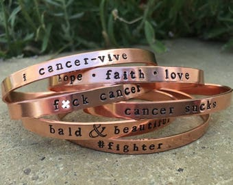 Mature - Stackable/Adjustable, F*ck Cancer, cancer bracelet, inspiring bracelet, recovery jewelry, inspirational cuff, copper bracelets.