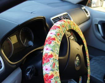 Floral Steering wheel cover Cute car accessory for woman Cool gift for her Car decoration for her Birthday gift Car accessories Wheel covers