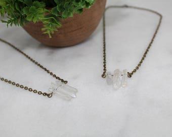 Clear Crystal Trio Necklace - Quartz Crystal Necklace - Clear Crystal Jewelry - Short Necklace - Bronze Chain