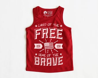 Land Of the Free Home of the Brave 4th of July baby toddler kid tank