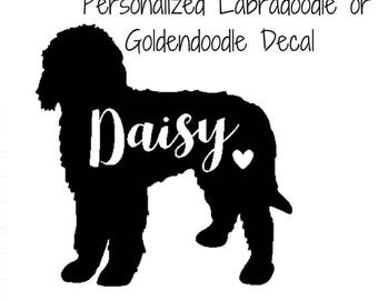 Personalized Godlendoodle or Labradoodle Dog Name Decal for Car or Laptop