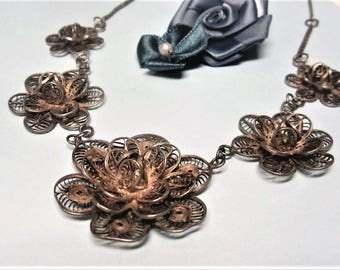 Silver Filigree Flower Necklace Vintage 1950s Floral Statement Necklace Silver Tone Metal