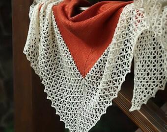 Knitted triangular shawl, oversized lace shawl, extra fine merino wool shawl Orange Butterfly