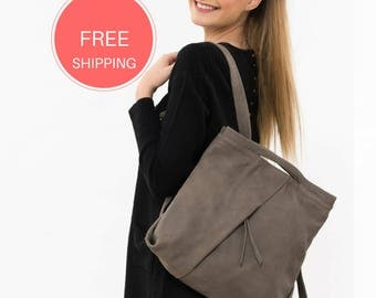 Leather taupe backpack, Soft leather backpack, Messenger backpack, Leather women backpack, Women leather Bag, Leather backpack handmade