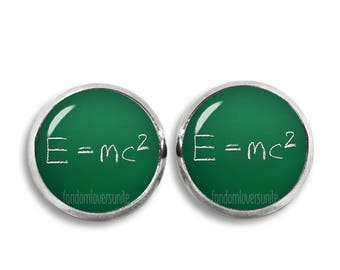Einstein Theory of relativity Stud Earrings E=mc2 Earrings Science Earrings 12mm Albert Einstein