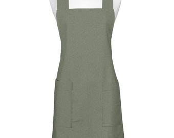 Japanese Linen  Crossback Apron Olive - Yarn Dyed Womens Retro Crossover Pinafore Vintage Style Kitchen Apron with Pockets