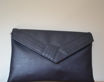 Vintage navy faux leather envelope clutch bag