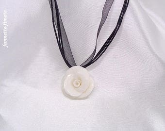 """Handmade necklace polymer clay flower """"Rose"""" glittering white-"""