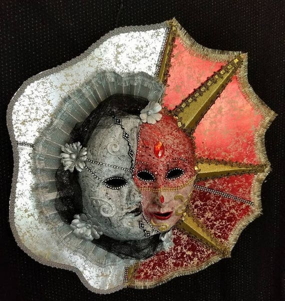 Sun & Moon Lovers is a Beautifully Handcrafted, Original, One of a Kind Mask made by Maskweaver, Soraya Ahmed,  in Naples, Florida