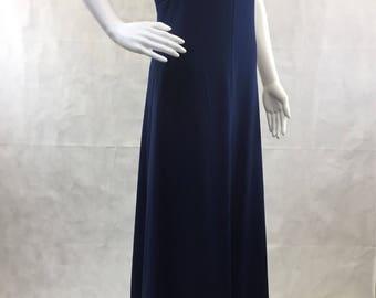 "Disco Navy Blue Dress Bust 36"" Maxi Dress Small - Medium 70s Jerry Lurie Evening Prom Bridesmaid"