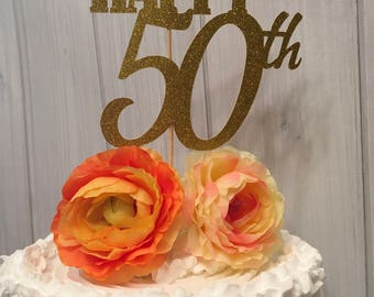 50th anniversary cake toppers, 50th birthday cake toppers, anniversary cupcake toppers