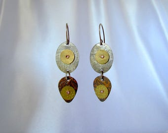 Item 4200-14 Handcrafted Sterling, Copper & Brass Textured Lightweight Dangle Earrings