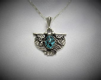 "Item 6113 - ""Shield of Many Paths""  999 Fine and 925 Sterling Silver Carved Textured Ancient Pendant set with Genuine Turquoise"