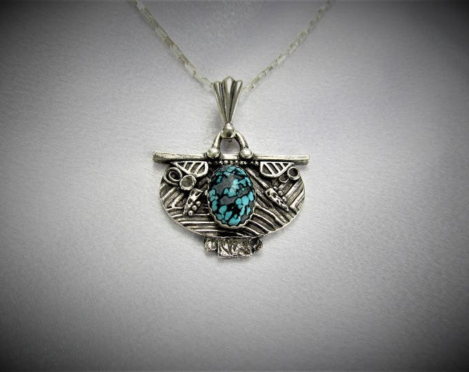 """Featured listing image: Item 6113 - """"Shield of Many Paths""""  999 Fine and 925 Sterling Silver Carved Textured Ancient Pendant set with Genuine Turquoise"""