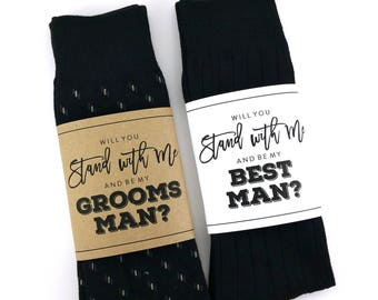 Will you be my Groomsman Sock Wrapper, Will you be my Best Man Sock Wrapper, Wedding Socks Wrapper, Wedding Socks Label